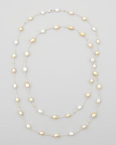 White/Golden Keshi Pearl & Diamond Necklace, 40