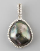 Gray South Sea Pearl and Diamond Halo Pendant, 0.26 TCW