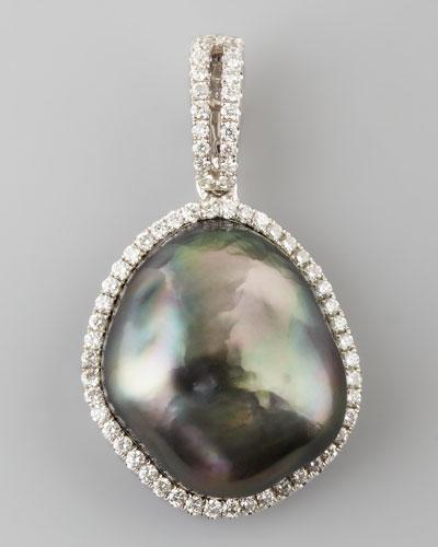 Gray South Sea Pearl and Diamond Halo Pendant, 0.26 TCW