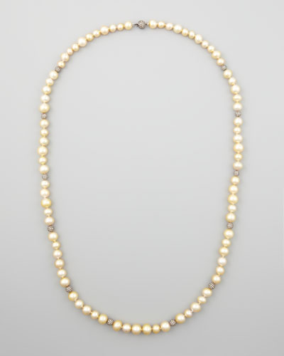 Golden South Sea Pearl & Pave Diamond Necklace, 38