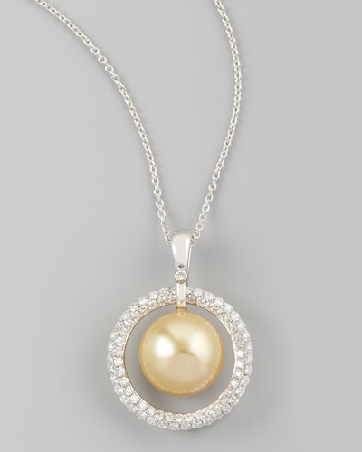 Golden South Sea Pearl & Diamond Halo Necklace, 0.7ct