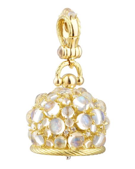 Paul Morelli 18k Moonstone/Diamond Meditation Bell Pendant, 20mm