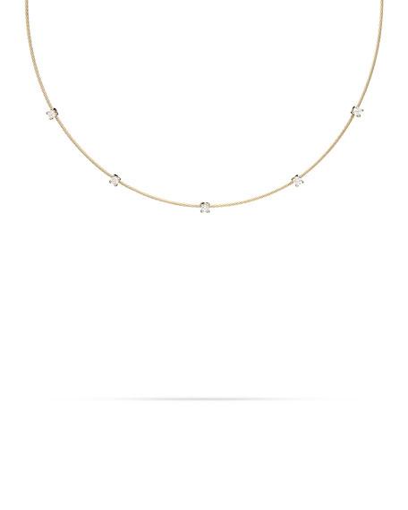 Paul Morelli 18k Yellow Gold Rope 5-Diamond Necklace, 1.10 TCW