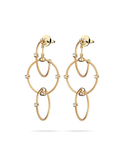 18k Yellow Gold Diamond Link Earrings, 41mm
