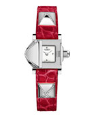 Medor Mini Watch with Diamonds & Red Alligator Strap