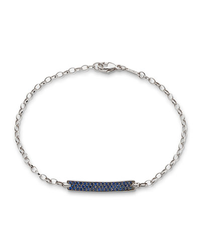 Petite Poesy Blue Sapphire Bracelet in 18K White Gold