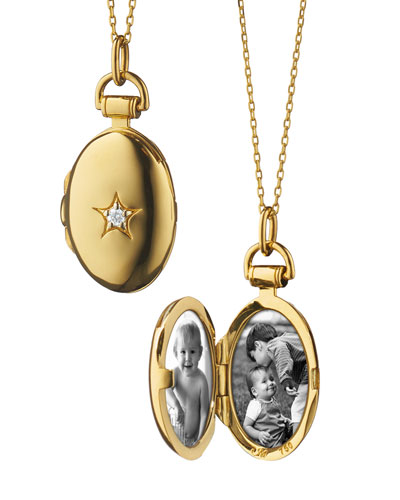18k Gold Petite Oval Locket Necklace with Diamond Star, 17