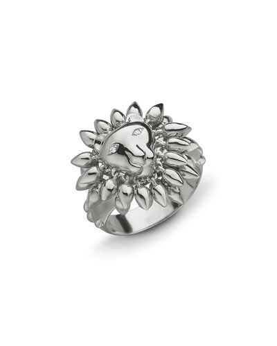 Sterling Silver Lion Courage Ring with White Sapphires, Size 8