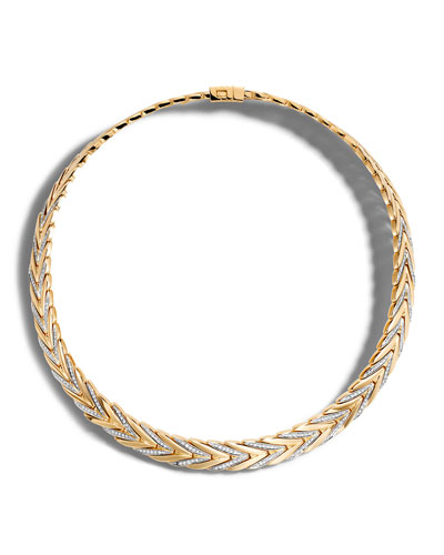 Modern Chain Medium 18K Gold Necklace with Diamonds