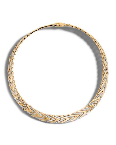 Modern Chain Medium 18K Gold Necklace with Diamonds