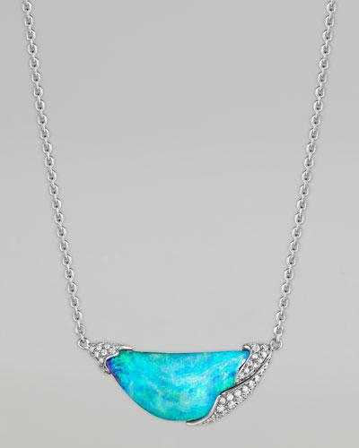 ZoZo 18k White Gold Diamond Opal Pendant Necklace