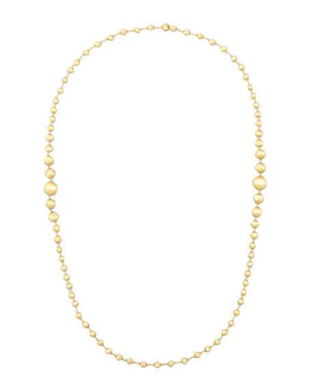 """Marco Bicego Africa 18k Brushed Gold-Bead Necklace, 36""""L"""