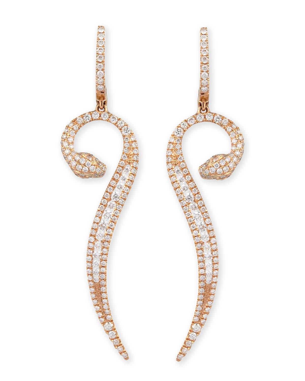 18k Rose Gold Diamond Snake Earrings