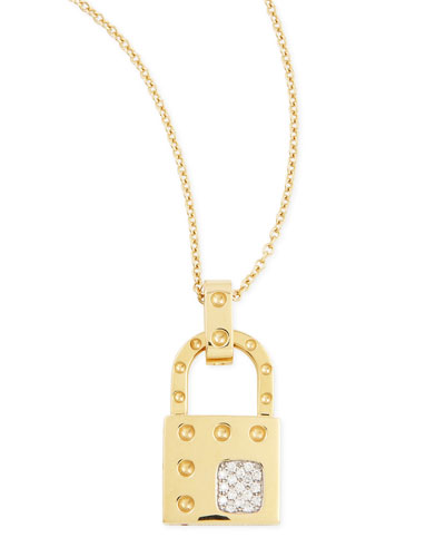 18k Yellow Gold Pois Moi Dia Lock Necklace