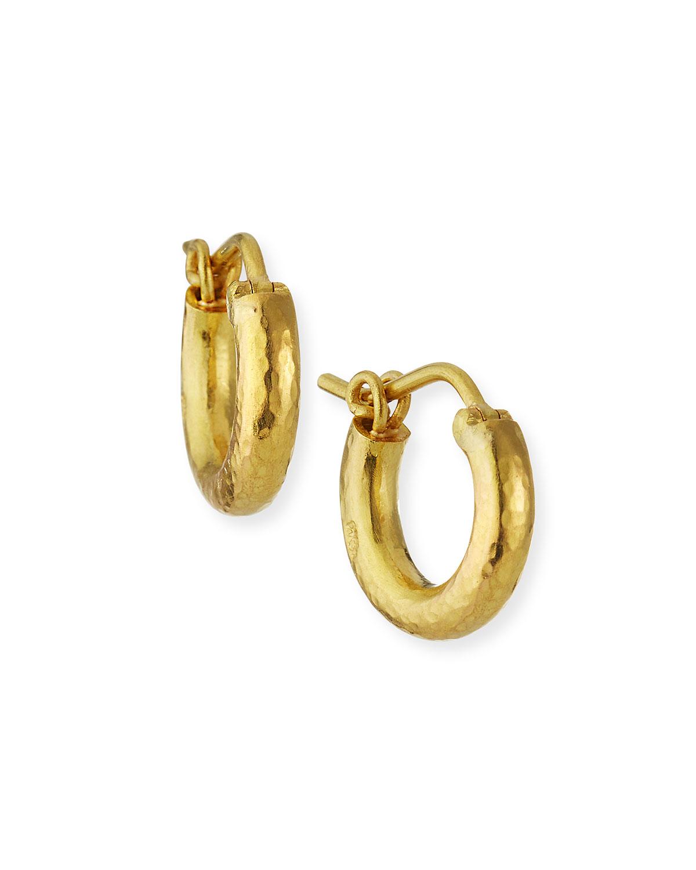 Baby Hammered 19k Gold Hoop Earrings
