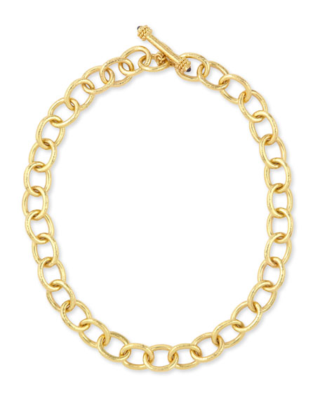 "Elizabeth Locke Hammered 19k Volterra Link Necklace, 17""L"