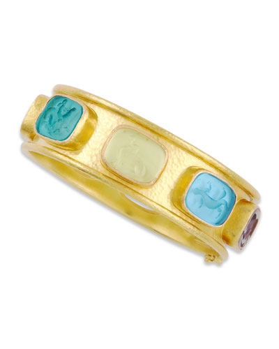 Antique Animals Intaglio 19K Gold Bangle, Pastel/Multicolor