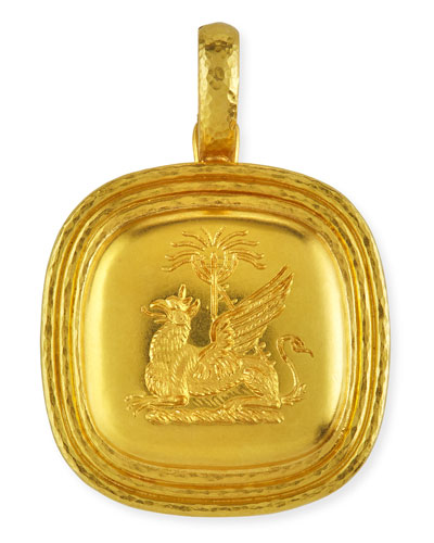 19k Gold Griffin & Palm Livery Button Pendant
