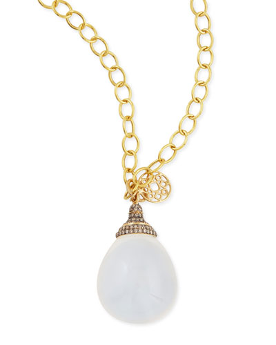 Mogul Pave Diamond Moon Quartz Drop Pendant