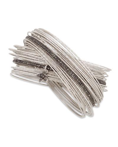 Spring Silver Interlocking Bracelet with Diamonds