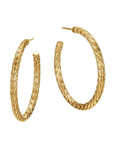 Classic Chain 18k Gold Medium Hoop Earrings