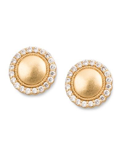Diamond-Scalloped-Edge Stud Earrings, 0.26 TCW
