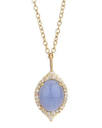 Aladdin Small Oval Necklace with Blue Chalcedony and Diamonds