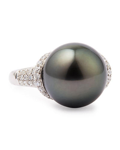 18k Gray South Sea Pearl and Diamond Ring