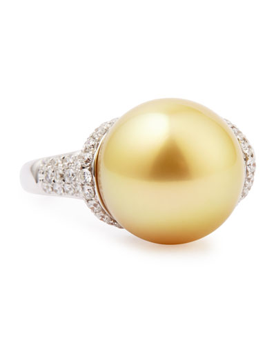 18k Golden South Sea Pearl and Diamond Ring