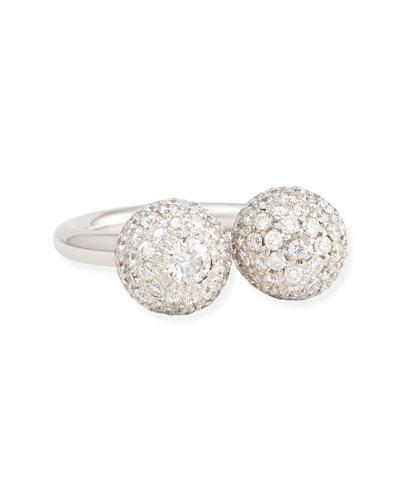 18k White Gold Pave White Diamond Ball Ring, 1.77 TCW