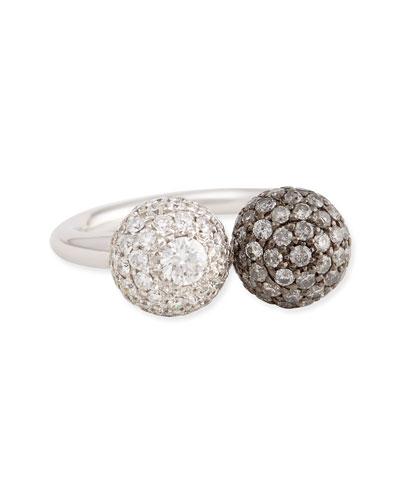 18k White Gold Pave White & Gray Diamond Ball Ring, 0.92 TCW