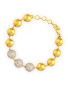 Lentil Ice 24k Gold & Diamond Bracelet