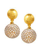 Lentil Ice 24k Gold & Diamond Drop Earrings