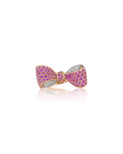 Bow Mid Size 18k Rose Gold Pink Sapphire & Diamond Ring, Size 6