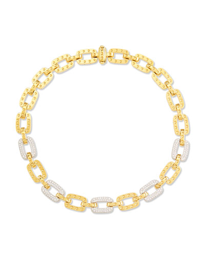 Pois Moi 5-Diamond Square Link Necklace, Yellow Gold