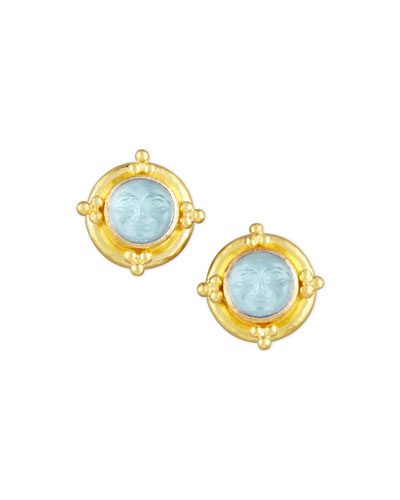 ELIZABETH LOCKE Man-In-The-Moon Intaglio Stud Earrings, Light Aqua
