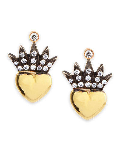 Heart & Pave Diamond Crown Stud Earrings