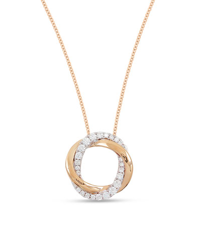 18k Pink & White Mini Halo Diamond Pendant Necklace