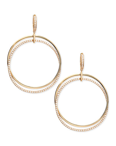 18k Pink Gold & Diamond Interlocking Hoop Earrings
