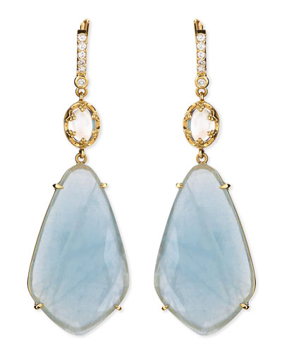 Oval Moonstone & Organic Aquamarine Earrings with Prong Diamonds