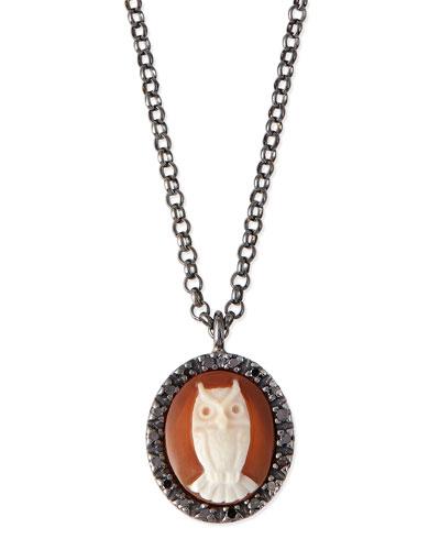 Owl Carnelian Necklace with Diamonds