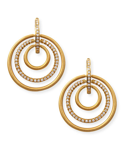 18k Moderne 3-Ring Pave Diamond Earrings, 1 1/8