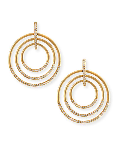 18k Moderne 3-Ring Pave Diamond Earrings, 1 1/2