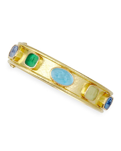 Venetian Glass Intaglio 19k Gold Bangle, Pastel/Multicolor