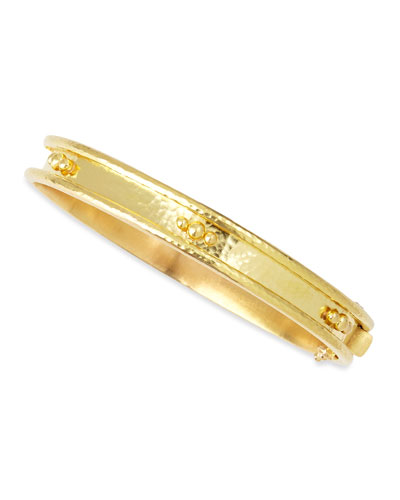 19k Gold Flat Thin Bangle with Granulation