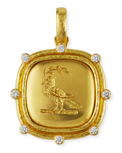 19k Gold Dove with Branch Pendant
