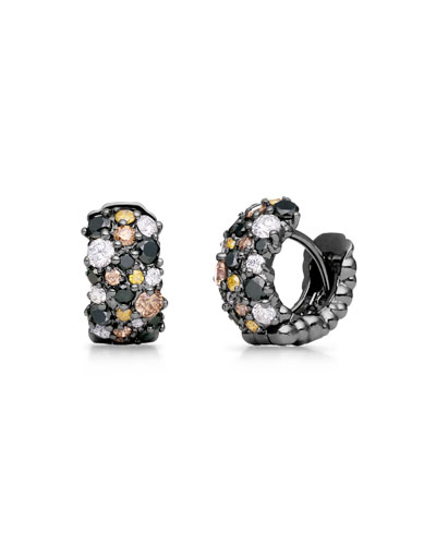 Small Multicolor Diamond Confetti Hoop Earrings