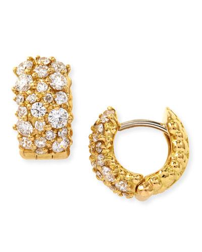 Small White Diamond Confetti Hoop Earrings