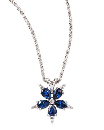 Small Stellanise Blue Sapphire & Diamond Pendant Necklace