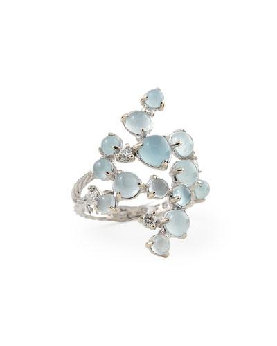 Aquamarine & White Diamond Bubble Cluster Ring